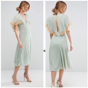 NWT ASOS Seafoam Lace Cape Chiffon Midi Dress